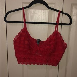 Red Lace Bralette Top